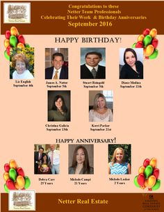 Congratulations to these Netter Real Estate Professionals Celebrating Birthdays & Anniversaries in September