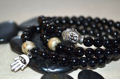 Set of 3 Black Beaded Stretch Bracelets withTibetan Hamsa and Buddha