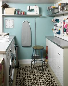 It doesn't have to be a huge space:  This laundry room is storage, craft area, and wrapping center.  Like the pegboard.
