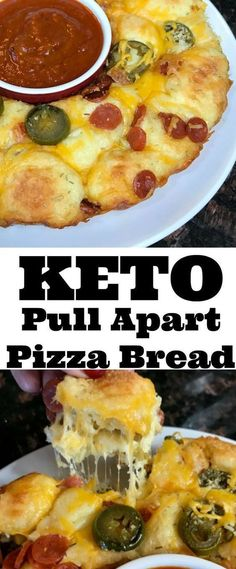 Keto Diet Recipes that are top notch! This Keto Pull Apart Pizza Bread recipe will be a perfect food for football parties! It's easy to make, inexpensive and fits the keto diet rules! Ketogenic Recipes, Low Carb Recipes, Diet Recipes, Cooking Recipes, Healthy Recipes, Pizza Recipes, Bread Recipes, Top Recipes, Baked Chicken