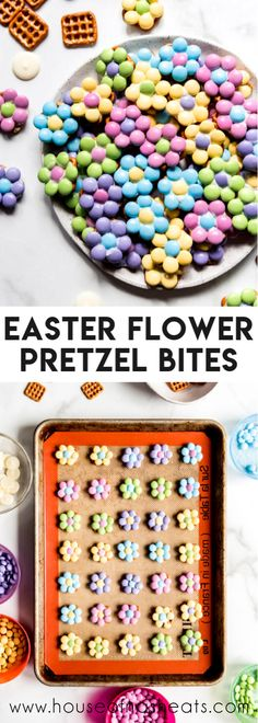 The salty-sweet combo of pretzels and chocolate make these easy Flower Pretzel Bites a great Springtime treat perfect for Easter, May Day, and Mother's Day! Chocolate Melting Wafers, Chocolate Covered Pretzel Rods, Chocolate Candy Melts, Easter Chocolate, Chocolate Food, Easy Easter Recipes, Snack Recipes, Dinner Recipes, Sweets Recipes