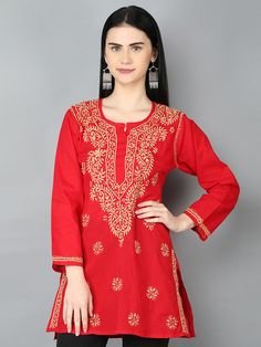 Ada #handembroidered Red Pure Cambric #Cotton #Lucknowi Chikan Top-A250381 offers a relaxed and comfortable silhouette to the wearer  #AdaChikan #handcrafted #chikantops #chikankari #Lucknow #shoponline