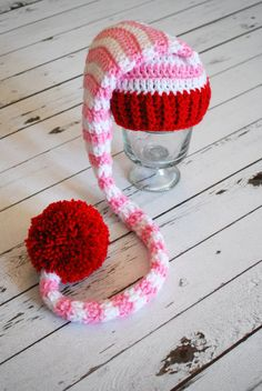 Valentine Hat  Valentine Elf Hat  Valentine Long by LoopySlipknot