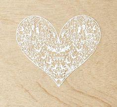 Hand-Cut Papercutting Artwork - Floral Heart