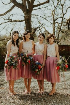 Lorna's beautiful maids wear TFNC London Sequin tops with hand-made tulle skirts, for a Springtime Highland wedding. Image by The Curries