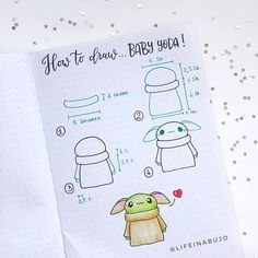 How to draw baby yoda 💚❤️ she's done it again! has managed to make him look EVEN cuter 😌 - Shop bujos, brush… Yoda Drawing, Drawing Stars, Baby Drawing, Drawing For Kids, Totoro Drawing, Bullet Journal Ideas Pages, Bullet Journal Inspiration, Bujo Doodles, Cute Easy Drawings
