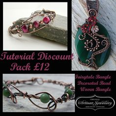 Wire Wrapped Jewellery Tutorial, Discount Pack, Wire Wrapping, Weaving, Jewelry Pattern, Wire Jewelry Lesson, PDF, Instant Download, Tut