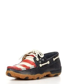 Twisted X Womens Driving Moc D Toe Blue, Red, & White Shoe