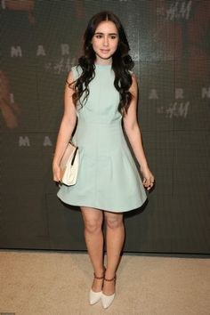 Lily Collins wearing Marni Spring 2012 Sleeveless Dress, Marni Spring 2012 Clutch and Marni Spring 2012 Sandal.