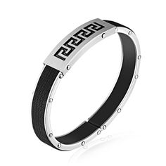 FATE LOVE Fashion Jewelry Men Bracelet Bangles Black Leather for Boy Stainless Steel PH1112