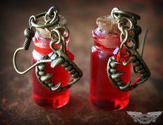 True Blood Inspired Vampire V Blood Vial Bottled Earrings $12.99