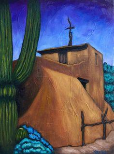 "Bobby Lee Krajnik   ""Chapel in the Sun""   oil on linen   12 x 9 x 1.5""   DeGrazia's Mission in the Sun b.1952 Tucson Az"