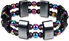 YAMAO Hematite Bracelet Healing Magnetic Therapy Stone Beaded Stretch Bracelets Men Color A Crystal Bracelets, Crystal Beads, Bangles, Crystals, Hematite Bracelet, Chakra Bracelet, Stretch Bracelets, Bracelets For Men, Health Bracelet