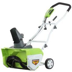 GreenWorks 26032 12 Amp Corded Snow Thrower - Electric Snow Shovel with Wheels Electric Snow Shovel, Electric Snow Blower, Electric Motor, Snow Shovel With Wheels, Snow Removal Equipment, Removal Tool, Lawn And Garden, Garden Tools, Winter Essentials