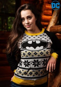 Bring some superhero flair to your next ugly sweater party when you wear this exclusive Batman Women's Ugly Christmas Sweater. This grey knit sweater has the Bat Signal image on front with black and yellow accents. Toy Soldier Costume, Elf Costume, Ugly Christmas Sweater Women, Holiday Sweater, Christmas Costumes For Adults, Deer Costume For Kids, Batman Outfits, Ugly Sweater Party, Casual Summer Outfits