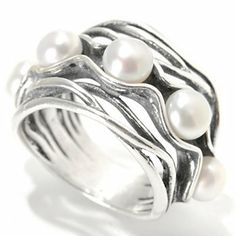 Passage to Israel Sterling Silver 5mm Freshwater Cultured Pearl Wavy Band Ring