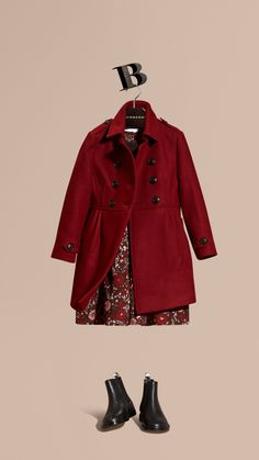 Deep claret Wool Cashmere Blend Military Coat - Image 1
