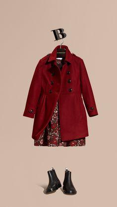 Deep claret Wool Cashmere Blend Military Coat - Image 1