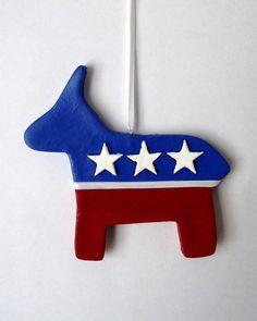 Democrat Donkey Ornament by ellicakes on Etsy