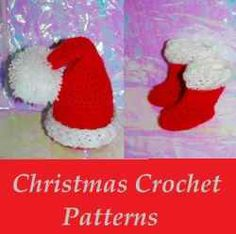 Nothing is sweeter than these Santa Baby Christmas #Crochet Patterns. These easy crochet Santa hat, and Santa #booties, and are sure to bring a...