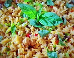 Rice pilaf with garbanzo beans and orzo