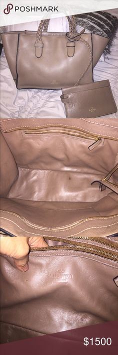 Authentic Valentino handbag Nice taupe Med brown color in excellent condition. Nice braided handles attached w a little wallet which I never used. One minor spot inside as shown in pic otherwise no purse is in excellent condition. Open to trades want to update my collection. Please only serious inquiries only Bags Totes