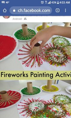 Firework Painting, Fun Summer Activities, Fireworks, Table Decorations, Crafts, Home Decor, Manualidades, Decoration Home, Room Decor