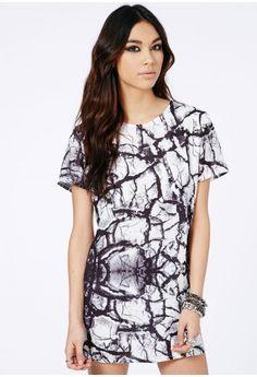 Missguided - Aticka Graphic Print Oversized Mini Dress