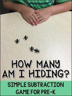 """How Many Am I Hiding? Math Game """"How Many Am I Hiding?"""" is a simple subtraction math game for Pre-K, Preschool, Kindergarten children to practice number concepts. Bug Activities, Kindergarten Math Games, Math Games For Kids, Preschool Games, Preschool Lessons, Math Classroom, Math Lessons, Teaching Math, Math Games For Preschoolers"""