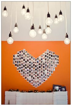 polaroid wall with bare lightbulbs