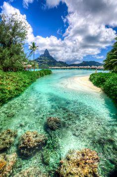 View on the Mt. Otemanu, Leeward Islands, Bora Bora - from the Intercontinental Bora Bora Thalasso and spa // Alex Eshelman Beautiful Places To Travel, Wonderful Places, Beautiful Beaches, Places Around The World, Travel Around The World, Around The Worlds, Dream Vacations, Vacation Spots, Romantic Vacations