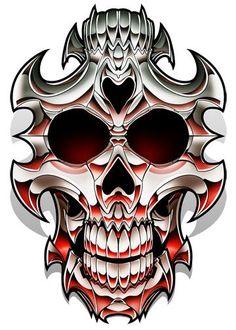Double Skull - Chrome Temporary Tattoo
