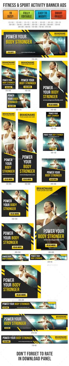 Fitness & Sport Activity Banner Ads Template PSD | Buy and Download…