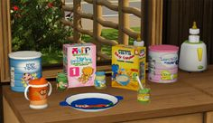 aroundthesims: Around the Sims 3 | Baby Food Requested by the sweetest soul of Tumblr I know (LilMissLau, of course!), here's a collection of (decorative) baby food, with tins, boxes, jars, dishes, and in simlish! I hope you and your Sims parents wil enjoy! :) Happy Honeymoon, Laura dear! *huuuuuugs* DOWNLOAD HERE