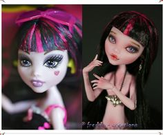 Draculaura custom art doll before and after