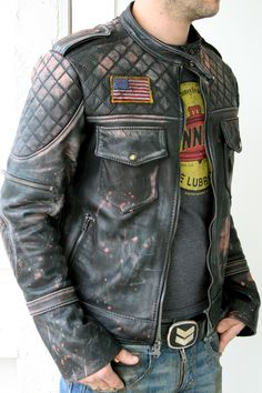 Bone Black LA  Leather moto jacket