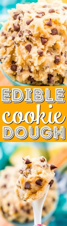 This Edible Cookie Dough is an eggless and delicious treat you can make in just 5 minutes! Made with butter, sugar, flour, salt, and chocolate chips! This Edible Cookie Dough is an eggless and delicious treat you can make in just 5 minute Cookie Dough Desserts, Cookie Dough Fudge, Edible Cookies, Edible Cookie Dough, Homemade Cookies, Great Desserts, Best Dessert Recipes, Delicious Desserts, Snack Recipes