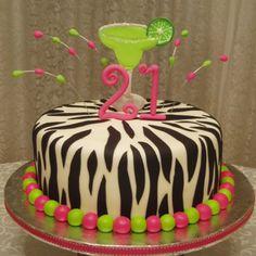 21st birthday cake!! (Just not Zebra) LOVE LOVE LOVE