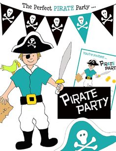 Arrgh- do you have a pirate at home who wants a Pirate themed Birthday? Create the perfect pirate party for your wee pirate with these custom Pirate printables. Save money and print off the exact number of invitations, goody bags, pirate maps Preschool Pirate Theme, Pirate Activities, Pirate Day, Pirate Birthday, Birthday Stuff, Princess Birthday, Birthday Parties, Pirate Party Decorations, Kids Party Themes