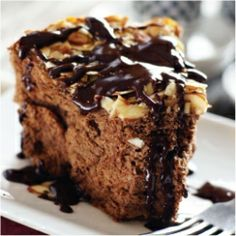 Chocolate Almond Angel Food w Mocha Glaze~ light and airy angel food meets rich coffee flavored chocolate glaze.