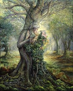 """The Dryad and the Tree Spirit"" - Oil painting by Josephine Wall, a popular English fantasy artist and sculptor. Josephine Wall, Beltaine, Art Expo, Oracle Cards, Tree Art, Mythical Creatures, Forest Creatures, Mother Earth, Mother Nature"