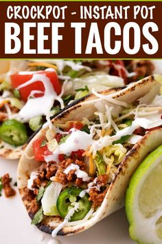 Have dinner ready to go when you come home with these crockpot beef tacos! The taco meat is slow simmered and incredibly tender and juicy! Slow Cooker Beef Tacos, Slow Cooker Ground Beef, Crock Pot Tacos, Ground Beef Tacos, Crock Pot Slow Cooker, Slow Cooker Chicken, Crockpot Taco Meat, Mexican Food Recipes, Whole Food Recipes