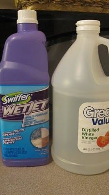 Homemade Swiffer Wet Jet Refill-chemical-free.  boil water and submerge cap to loosen.  fill with 50/50 water and vinegar mix.