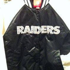 DIY Rhinestone Oakland Raiders Jacket. Because you can don't have to stop looking fab for your team!