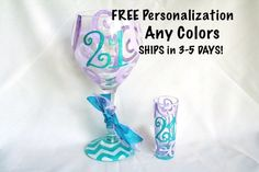 "SET OF 2: Monogram 21 Wine Glass and Shot Glass-- White Wine Glass| ""21"" in Glitter Hot Pink.Top Design: Green Swirls. Base Design: Hot Pink and White Chevron"