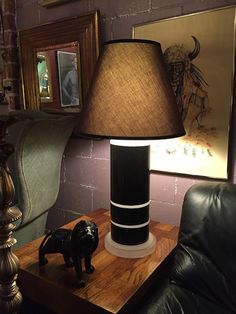 Pair of Black and Frosted Lucite Lamps