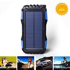 Solar Charger Kiizon Outdoor Portable Chargers Solar Power Bank Shockproof/Dustproof Dual USB External Battery Pack Power Pack with Flashlight For iPhone Series,Smart Cell Phone,More Solar Power Energy, Portable Solar Power, Solar Energy Panels, Best Solar Panels, Solar Energy System, Solar Phone Chargers, Solar Charger, Portable Charger, Banks