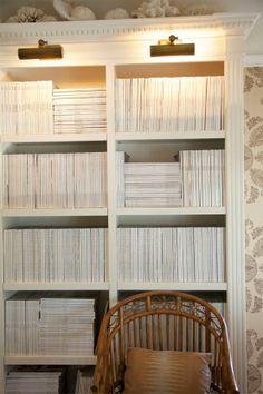 magazine stacks.