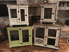 Urban farmhouse designed indoor single dog kennels!  Featuring distressed paint finishes, wrapped in steel with a gridiron industrial look.  We build double kennels too.  It's furniture for your dog!  Donate those wire crates!