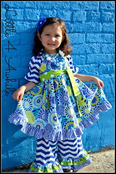 Girls True Blues Peasant Dress and Ruffled Pants by Little4Awhile, $65.00